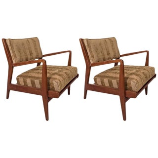 1960s Mid Century Modern Jens Risom Walnut Occasional Armchairs - a Pair