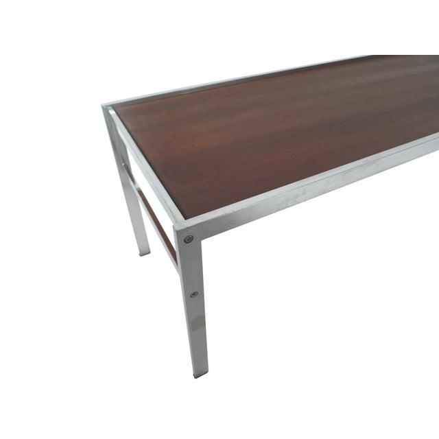 Modern Walnut & Chrome Low Coffee Table - Image 4 of 7