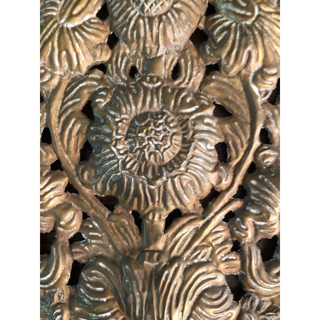Brass Early 18th Century Baroque Repousse Dutch Brass Sunflower Sconce Backplates - a Pair For Sale - Image 8 of 13