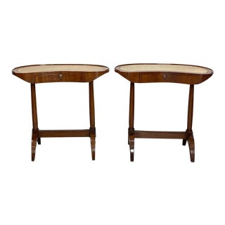 Italian Fruitwood Kidney Shape Writing Tables - a Pair For Sale