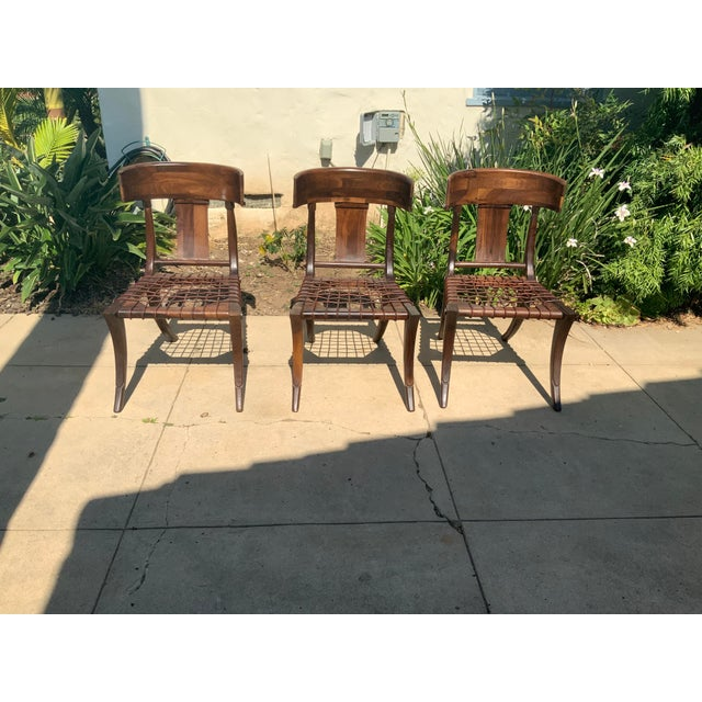 Klismos Walnut Chairs - Set of 3 For Sale - Image 9 of 9