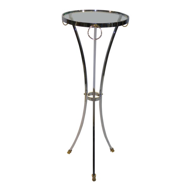 Maison Jansen Empire Style Chrome and Brass Pedestal Table For Sale