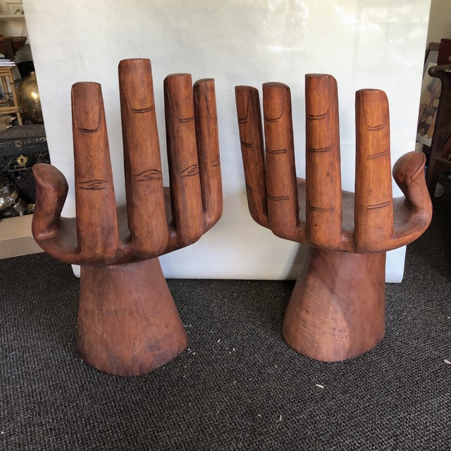 Brown Wooden Pedro Friedeberg Style Hand Chairs- a Pair For Sale - Image 8 of 9