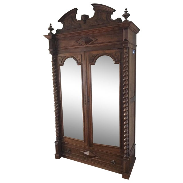 Rococo Revival Style Mahogany Mirrored Armoire - Image 1 of 10