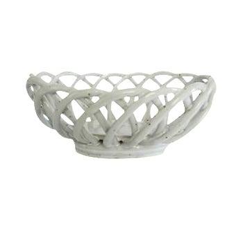 Vintage White Ceramic Speckled Pottery Open Weave Bread Serving Bowl Basket Warmer For Sale