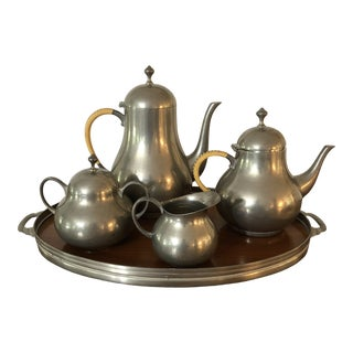 1960's Vintage Royal Holland Pewter Tea Service- 5 Pieces For Sale