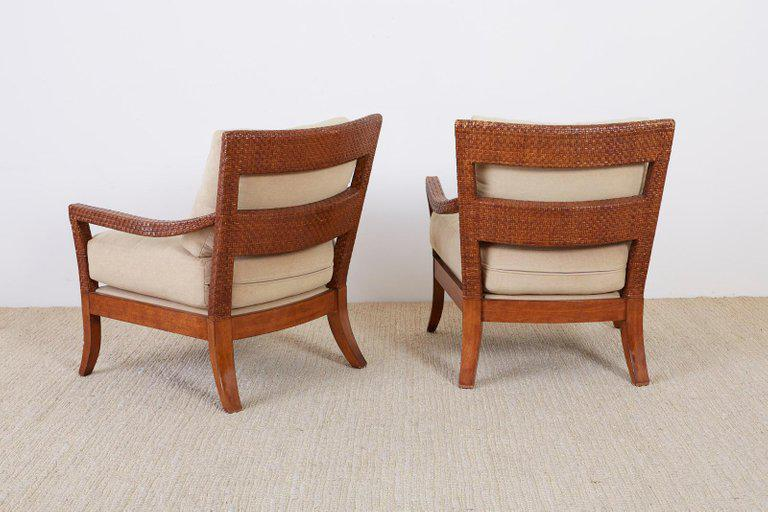 Brown Pair Of Billy Baldwin Style Rattan Wrapped Lounge Chairs For Sale    Image 8 Of