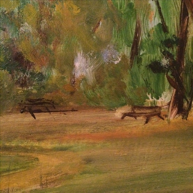Couple Walking in Park Original Oil Painting - Image 4 of 7