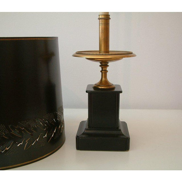Circa 1950 Mid-Century attributed to Maison Jansen Bronze French Candle Table Lamp -1 For Sale - Image 5 of 9