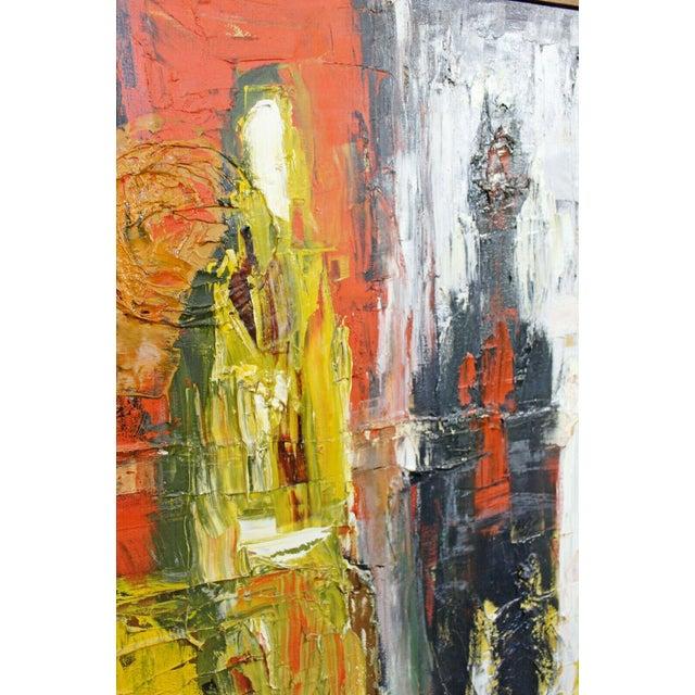 1970s Mid Century Modern Framed Oil Pallet Knife Canvas Painting Signed Bochraz For Sale - Image 5 of 9