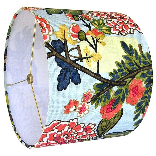 2010s Custom Aqua Floral Lantern Drum Lamp Shade For Sale - Image 5 of 5