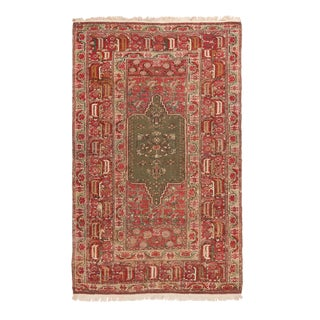Antique Gordes Traditional Red and Sage Green Wool Rug For Sale