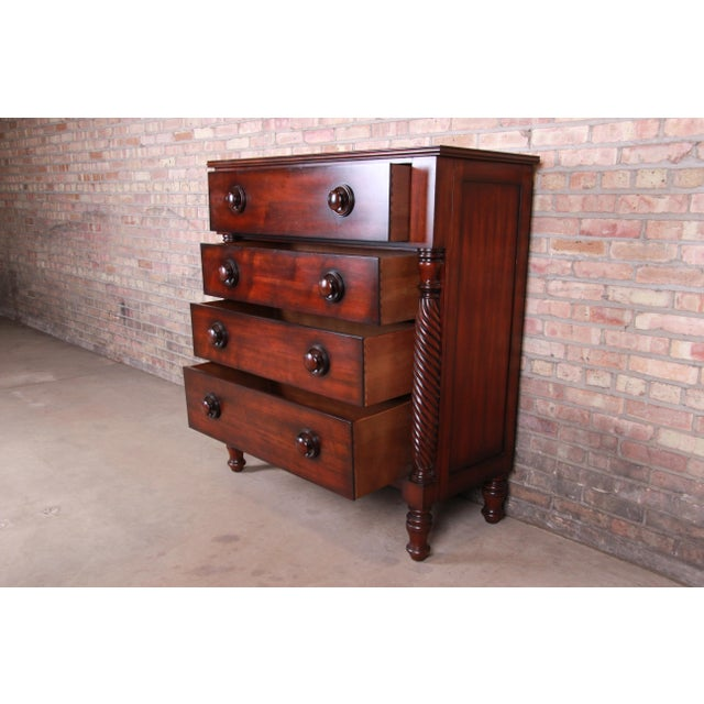 1990s Ralph Lauren for Henredon American Empire Carved Mahogany Highboy Dresser For Sale - Image 5 of 13