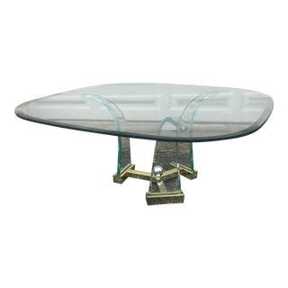 MCM Sabre Lucite Brass and Beveled Glass Coffee Table For Sale