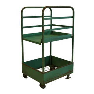 Vintage Rolling Factory Cart With Removable Tray C. 1940s For Sale