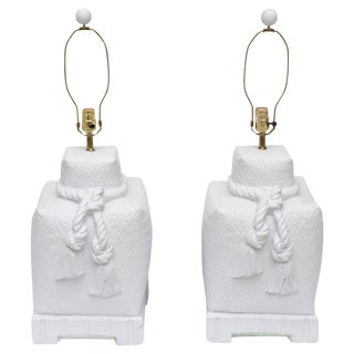 Pair of Modern White Ceramic, Woven, Roped and Tasseled Monumental Table Lamps Final Markdown For Sale