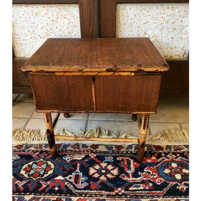Antique Bamboo and Wicker Stool For Sale - Image 4 of 8