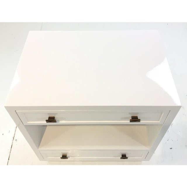 Worlds Away Worlds Away Modern White Lacquered Warren Two Drawer Nightstand/Side Table For Sale - Image 4 of 6