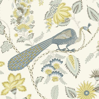 Schumacher Campagne Wallpaper in Cadet & Citron (8 Yards) For Sale