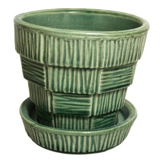 """McCoy Pottery Small """"Green"""" Mid-Century Flowerpot and Saucer For Sale"""