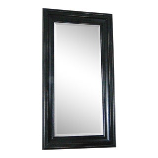 Pottery Barn Solano Dark Wood Beveled Glass Floor Mirror - For Sale