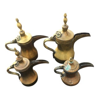 1950s Vintage Middle Eastern Dallah Coffee Pots - Set of 4 For Sale