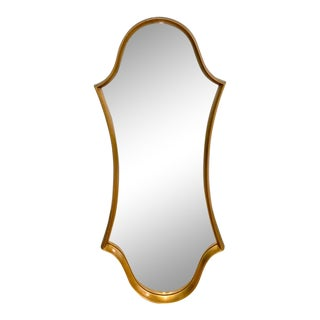 Mid Century Curvy Gilt Wood Mirror For Sale