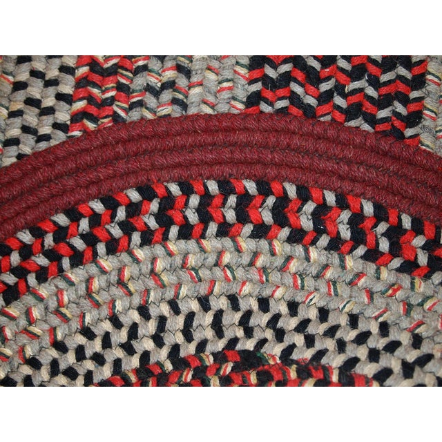 Burgundy 1930s Antique American Handmade Braided Oval Rug - 2′2″ × 3′9″ For Sale - Image 8 of 10