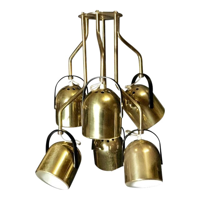 Italian 1970s Brass Pendant Light For Sale