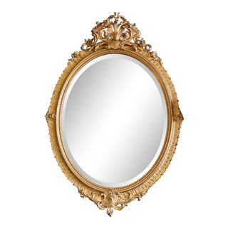19th Century Napoleon III Gilded Oval Mirror For Sale