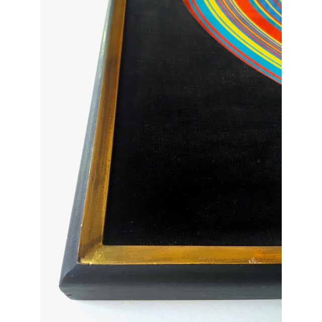 "Glass "" Tadasky "" Tadasuke Kuwayama Rare Vintage 1968 Mid Century Modern Framed Op Art Lithograph Print "" Whirling Circles "" For Sale - Image 7 of 13"