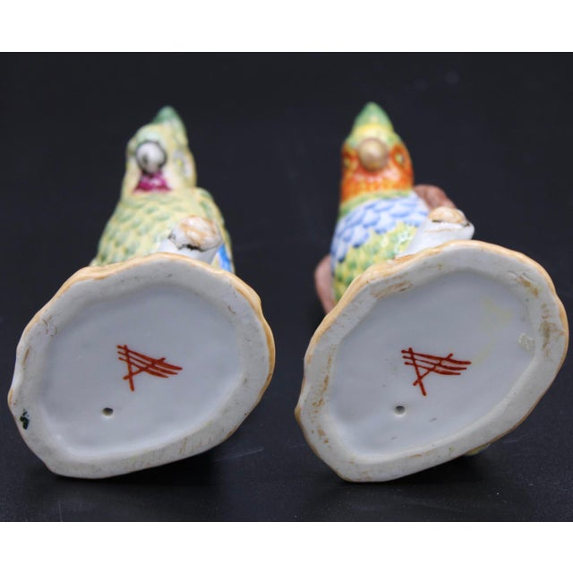 Mid-20th Century Chinese Export Ceramic Parrot Figurines - a Pair For Sale - Image 10 of 11