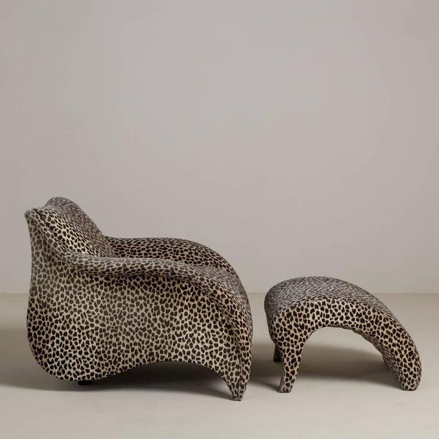A Leopard Print Chair and Stool by Vladimir Kagan - Image 3 of 6
