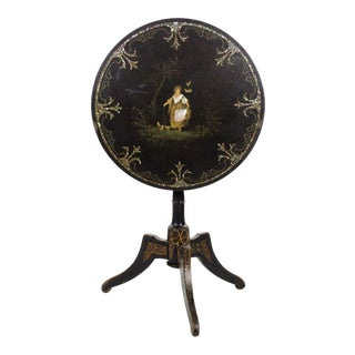 19th Century Antique Victorian Papier Mâché & Mother-Of-Pearl Tilt-Top Table For Sale