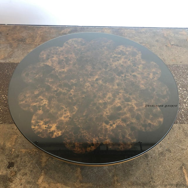 1950s Asian Theodore Muller Lotus Coffee Table for Kittinger With Glass Top For Sale - Image 5 of 7