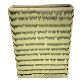 Vintage Mid-Century Flat Chartreuse Green Vase