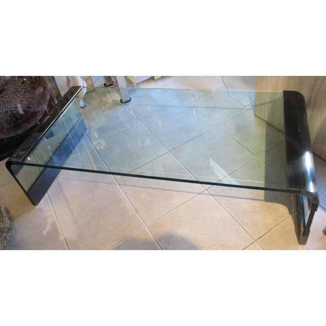 Pace Collection Waterfall Coffee Table by Leon Rosen circa 1970s. The table has the original smokey brushed chrome finish....