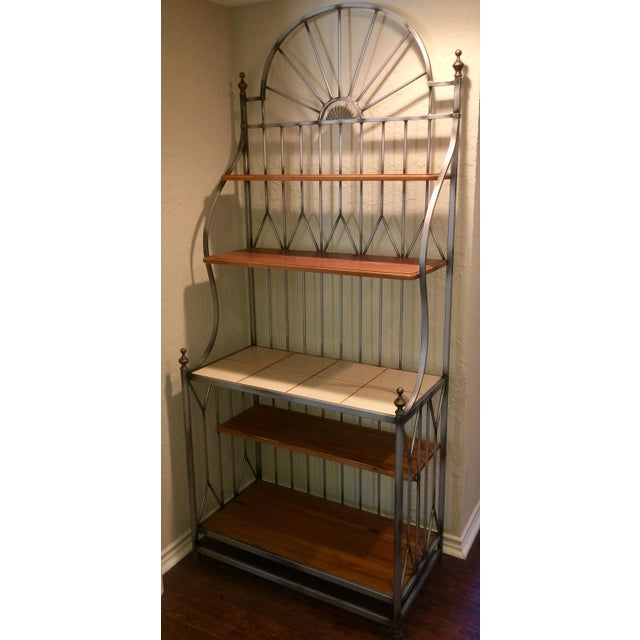 """Bakers Rack by Drexel Heritage (36"""" W x 82"""" H x 18"""" D). Part of the Solstice collection with iron frame, pewter finish,..."""