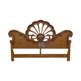 Baroque Style Vintage 1950s Shell Carved King Headboard
