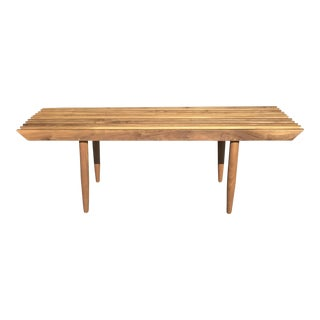 Mid Century Inspired Slat Bench/Coffee Table For Sale