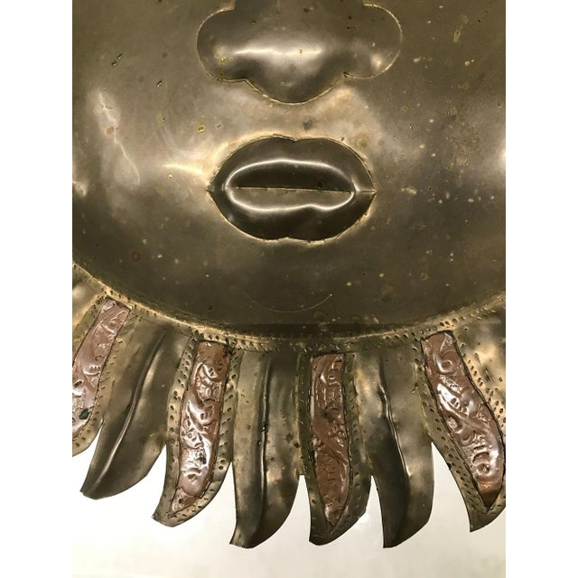 Brass Sergio Bustamante-Style Brass and Copper Sun Wall Sculpture, 1970s For Sale - Image 7 of 9