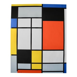 Vintage Modernist Bauhaus De Stijl Screen Print by Piet Mondrian by Pace Editions, 1970 For Sale
