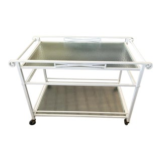 Brown Jordan White Metal Curved Corner 2 Shelf Rolling Service Tea Cart For Sale