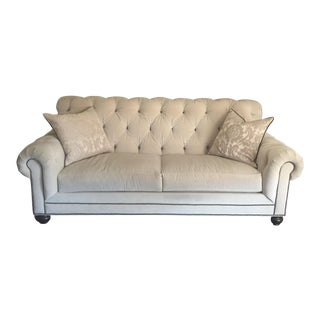 Beige Tufted Velvet Sofa