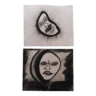 Charcoal Drawings of Face- 2 Pieces For Sale