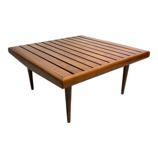 Mid Century Danish Modern Wood Slat Table / Bench For Sale
