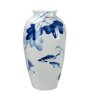 Chinoiserie Blue Leaves & Fish Detailed White Porcelain Vase