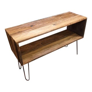 Mid-Century Modern Barnwood Record Console With Hairpin Legs For Sale