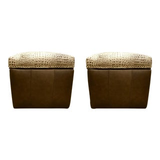 Embossed Leather With Alligator Print Square Ottomans on Casters Pair For Sale