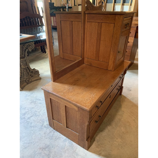 Antique Gentleman's Floral Carved Wardrobe With Static Mirror For Sale - Image 4 of 11